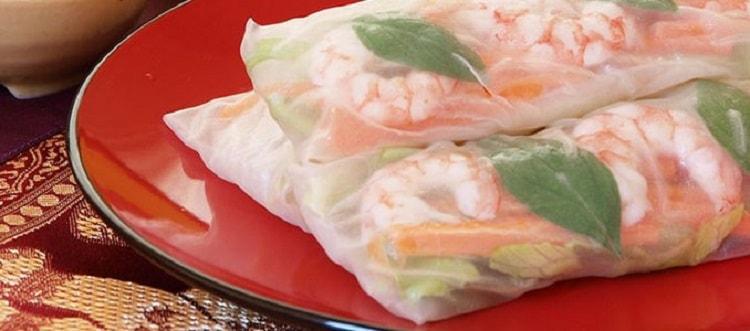 Gazpacho With Tofu Herb Spring Rolls
