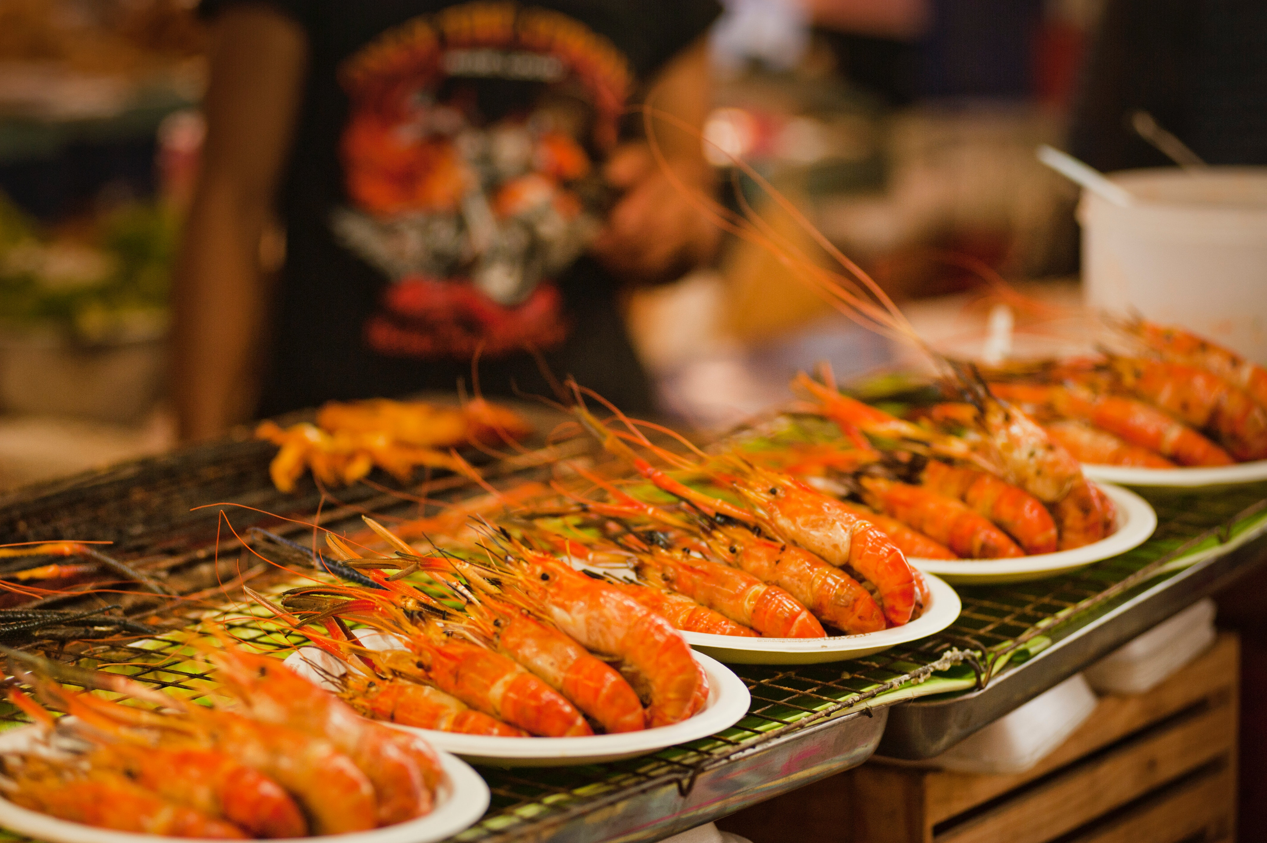 plates of shrimps